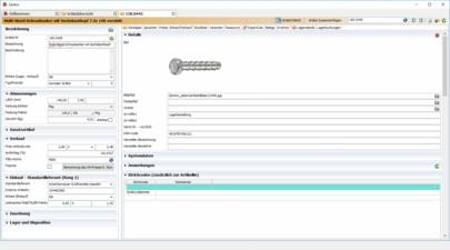 Artikeldetailansicht mit Bild, Abmessungen, Einkaufs- und Verkaufskonditionen im Zentro ERP